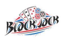 logo showing 3 seven playing cards, chips and the word Blackjack