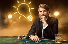 Blackjack player with lightbulb over his head