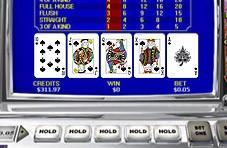 10-Jack-Queen-King-Ace of spades on a video poker screen