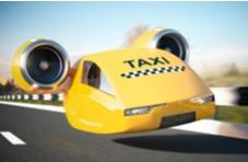 futuristic taxi cab hovering in the air