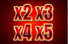 red background with golden x2 x3 x4 x5 signifying wild multipliers on Springbok slots