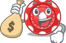 illustration of a happy poker chip holding a bag of money