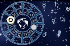 horoscope or zodiac wheel on a background of night stars