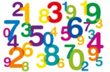 multi-colored numbers floating around on a white background