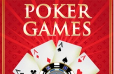 four aces, a poker chip and the words Poker Games on a red background