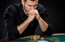 Poker player paying close attention