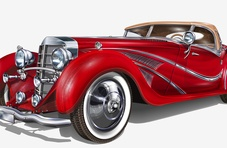 a big, red vintage car you can afford if you win big at Springbok online casino