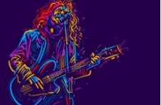 outline of a rock guitarist as if from neon lights