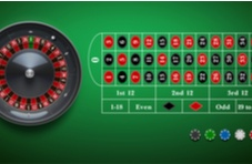 roulette wheel with the betting table