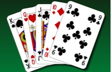 a straight poker hand of cards