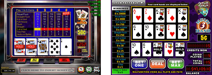 Video Poker games at Springbok Casino