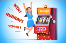 illustration of a woman winning a slot jackpot and jumping up and down from joy